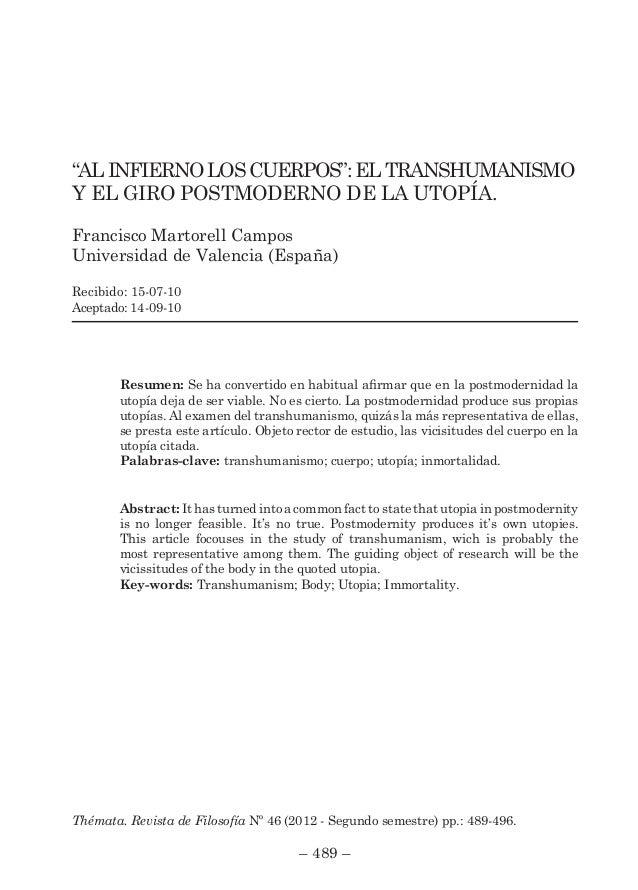 """AL INFIERNO LOS CUERPOS"""": EL TRANSHUMANISMO Y EL GIRO POSTMODERNO DE …"""