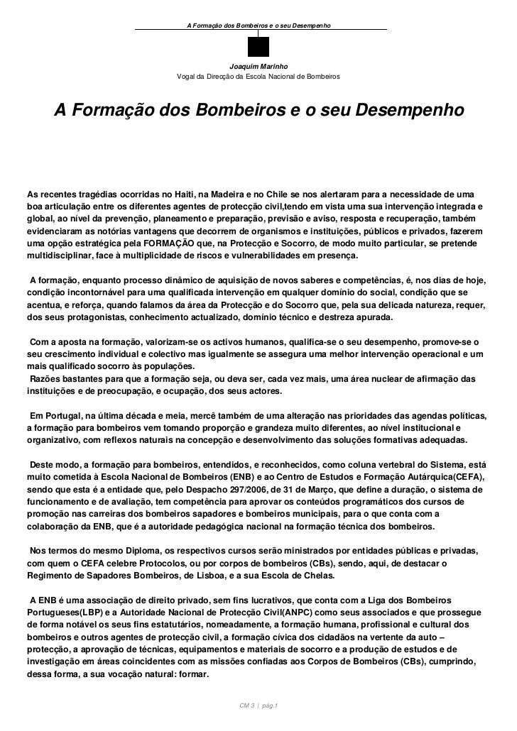 A Formação dos Bombeiros e o seu Desempenho                                                  Joaquim Marinho              ...