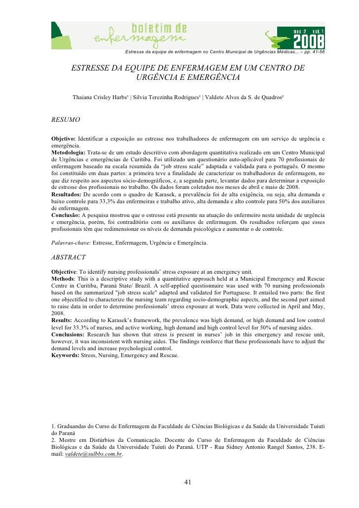 Estresse da equipe de enfermagem no Centro Municipal de Urgências Médicas... – pp. 41-56        ESTRESSE DA EQUIPE DE ENFE...