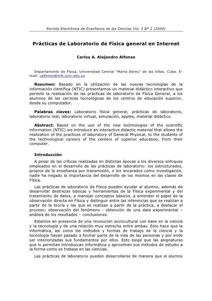 Revista Electrónica de Enseñanza de las Ciencias Vol. 3 Nº 2 (2004)     Prácticas de Laboratorio de Física general en Inte...
