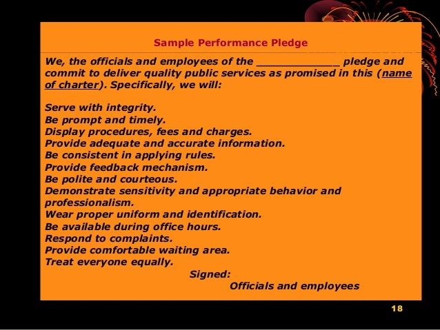 service 18 18 sample performance pledge