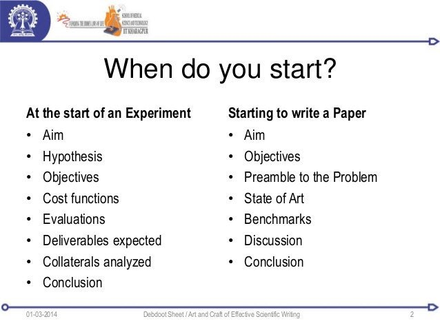 When do you start? At the start of an Experiment • Aim • Hypothesis • Objectives • Cost functions • Evaluations • Delivera...