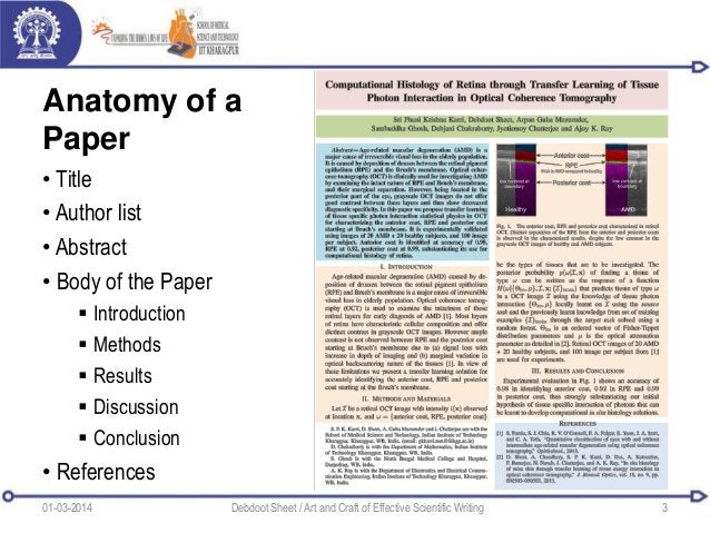 Anatomy of a Paper • Title • Author list • Abstract • Body of the Paper  Introduction  Methods  Results  Discussion  ...