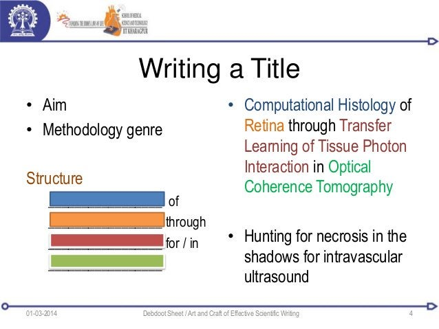 Writing a Title • Aim • Methodology genre Structure _________________ of _________________ through _________________ for /...