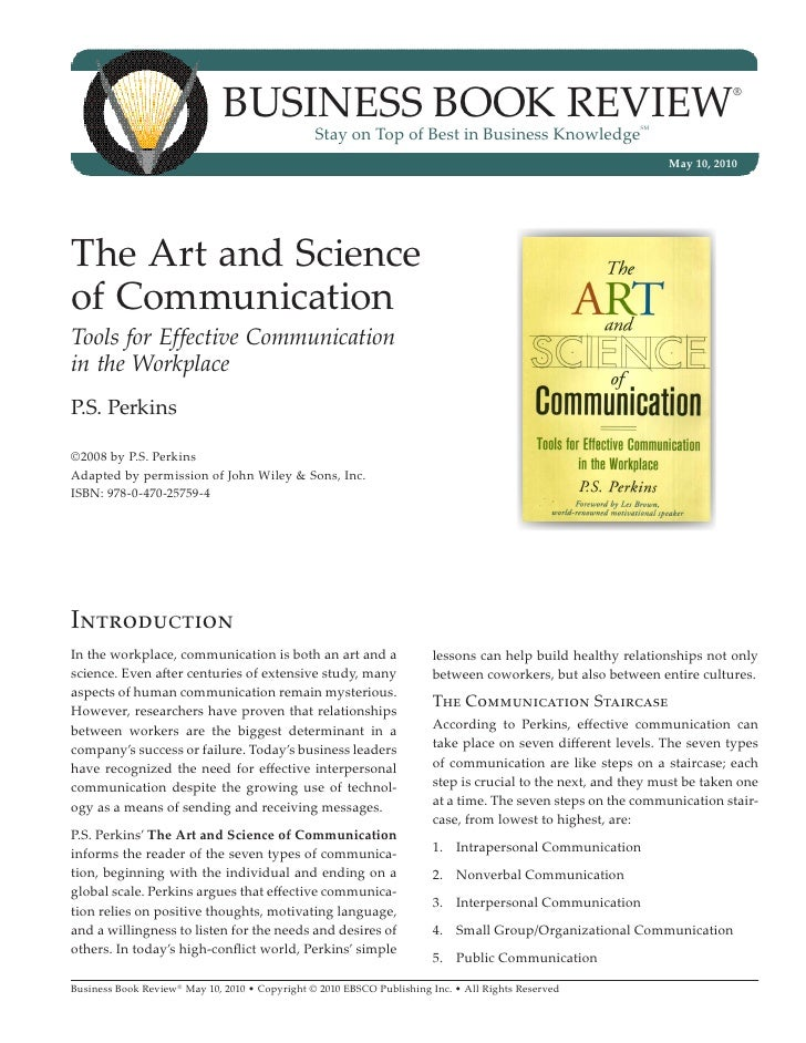 Art And Science Of Communication Ebsco For example, in most companies the boss can interrupt progress to hold an impromptu meeting in the. art and science of communication ebsco