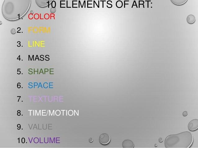 10 Elements Of Art : Art appreciation elements of value space