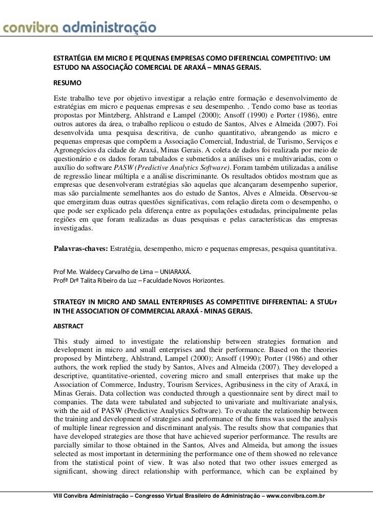 ESTRATÉGIA EM MICRO E PEQUENAS EMPRESAS COMO DIFERENCIAL COMPETITIVO: UMESTUDO NA ASSOCIAÇÃO COMERCIAL DE ARAXÁ – MINAS GE...