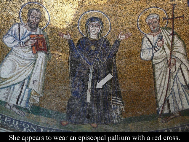 Today white tesserae replace most of Mary's red cross.