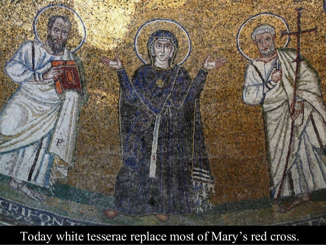 Who was this arms-raised Mary depicted as if leading the liturgy above the Eucharistic altar?