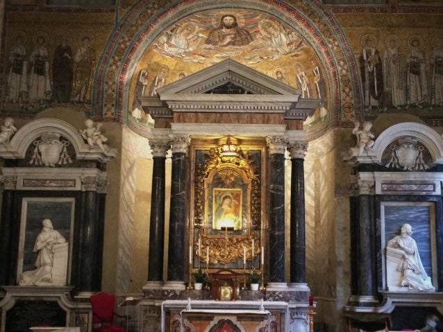 The 7th -century mosaic of Mary is hidden back there.
