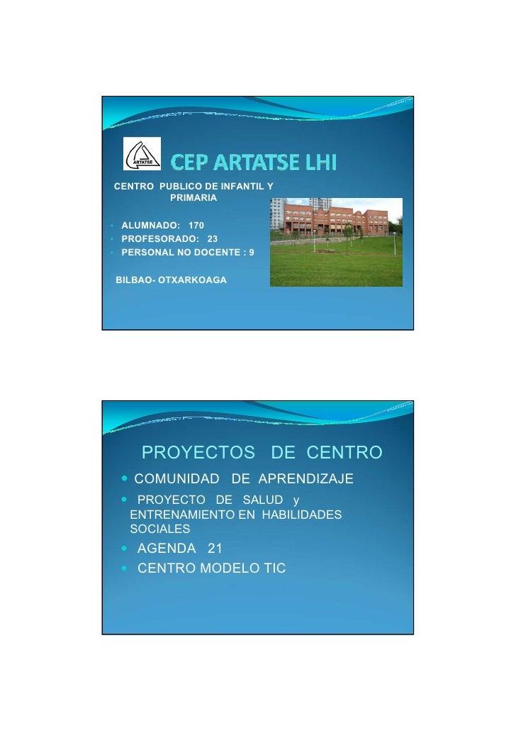 CENTRO PUBLICO DE INFANTIL Y          PRIMARIA  • ALUMNADO: 170 • PROFESORADO: 23 • PERSONAL NO DOCENTE : 9   BILBAO- OTXA...
