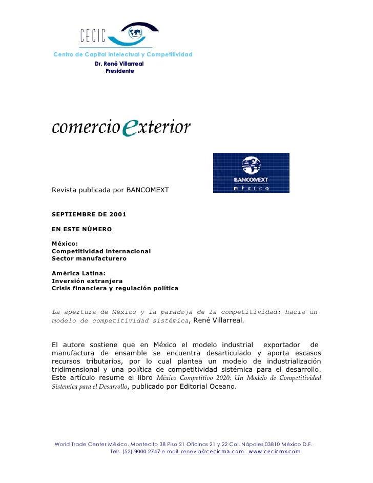 Centro de Capital Intelectual y Competitividad               Dr. René Villarreal                    Presidente     Revista...