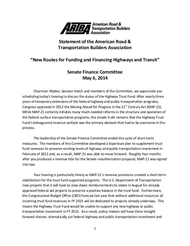 """1 Statement of the American Road & Transportation Builders Association """"New Routes for Funding and Financing Highways and ..."""
