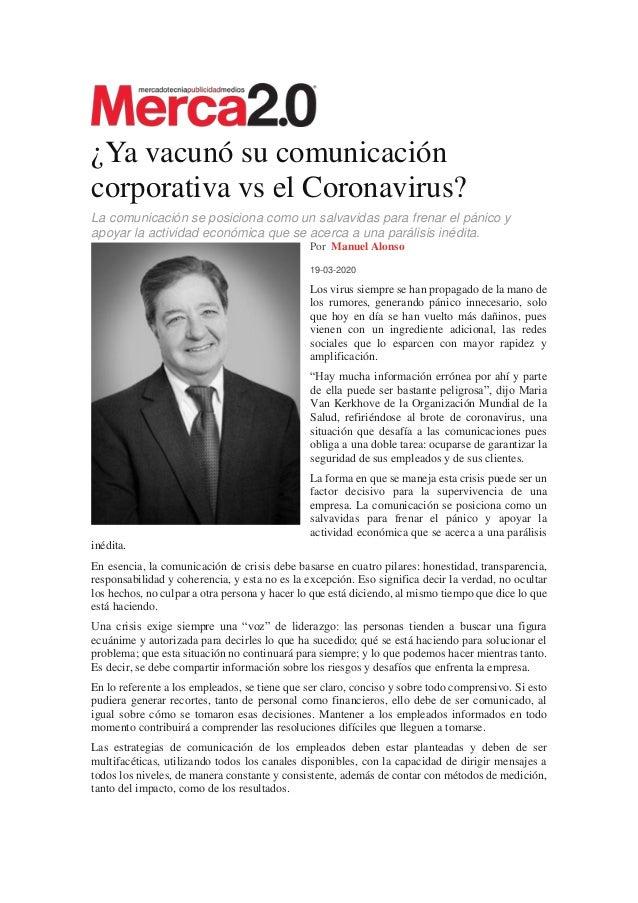 ¿Ya vacunó su comunicación corporativa vs el Coronavirus? La comunicación se posiciona como un salvavidas para frenar el p...