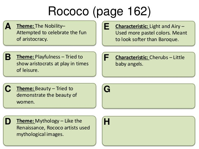 Art characteristics and assignment for Difference between baroque and rococo