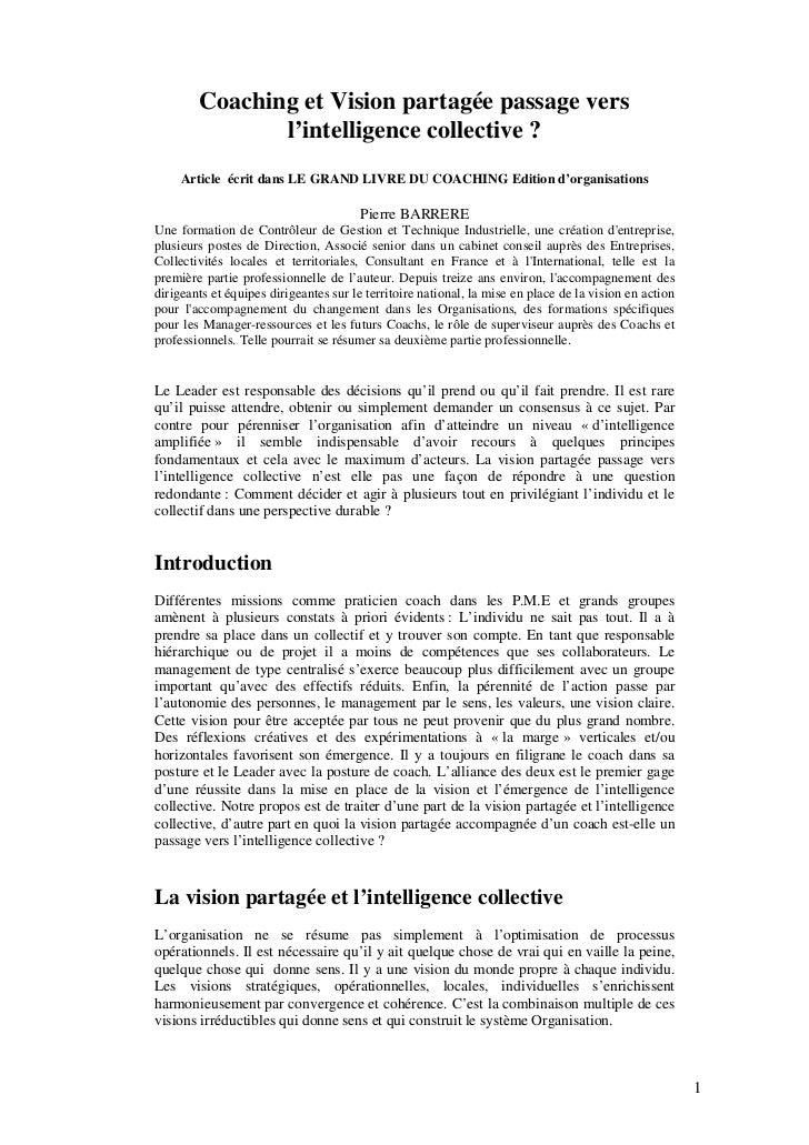 Coaching et Vision partagée passage vers               l'intelligence collective ?     Article écrit dans LE GRAND LIVRE D...