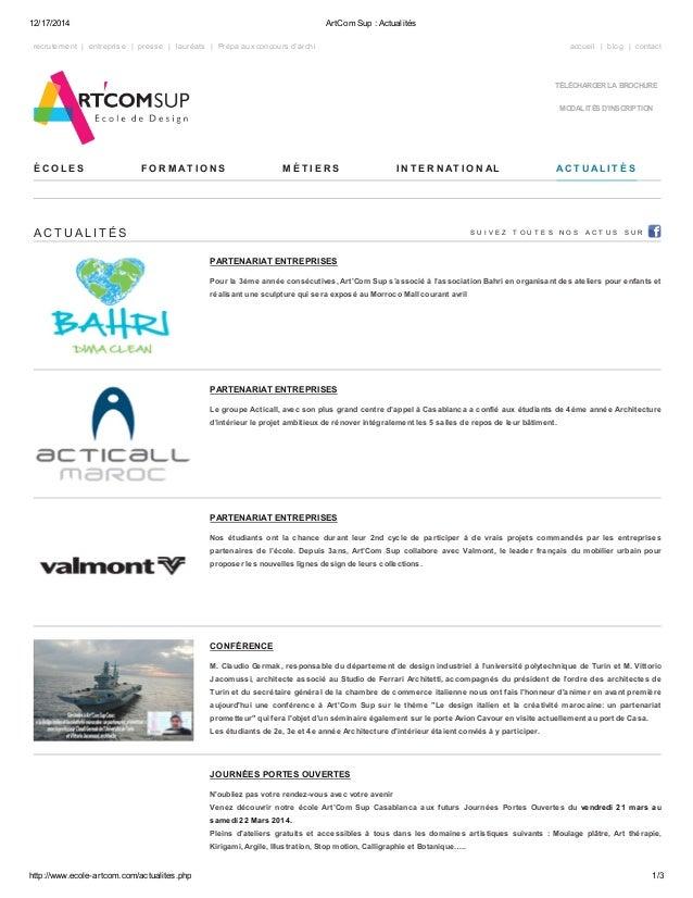 12/17/2014 ArtCom Sup : Actualités  recrutement | entreprise | presse | lauréats | Prépa aux concours d'archi accueil | bl...