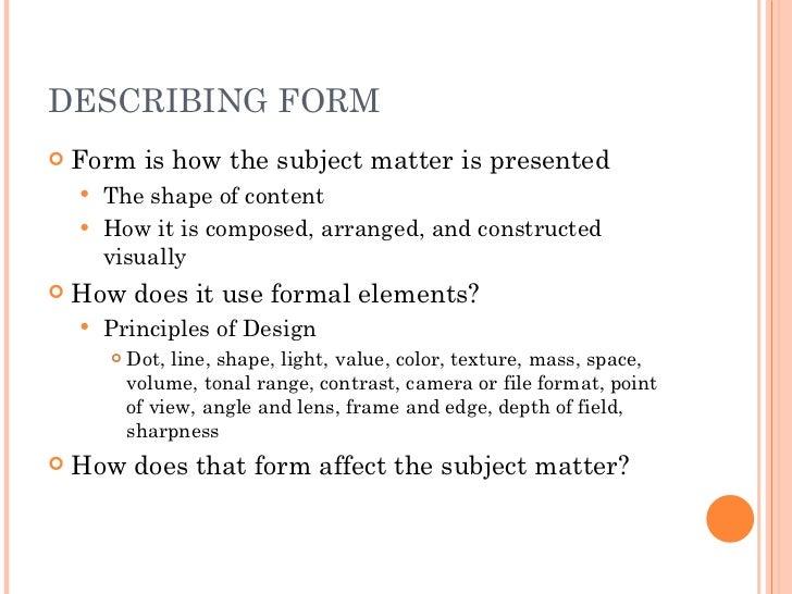 What Does Form Mean In Art : Describing artwork