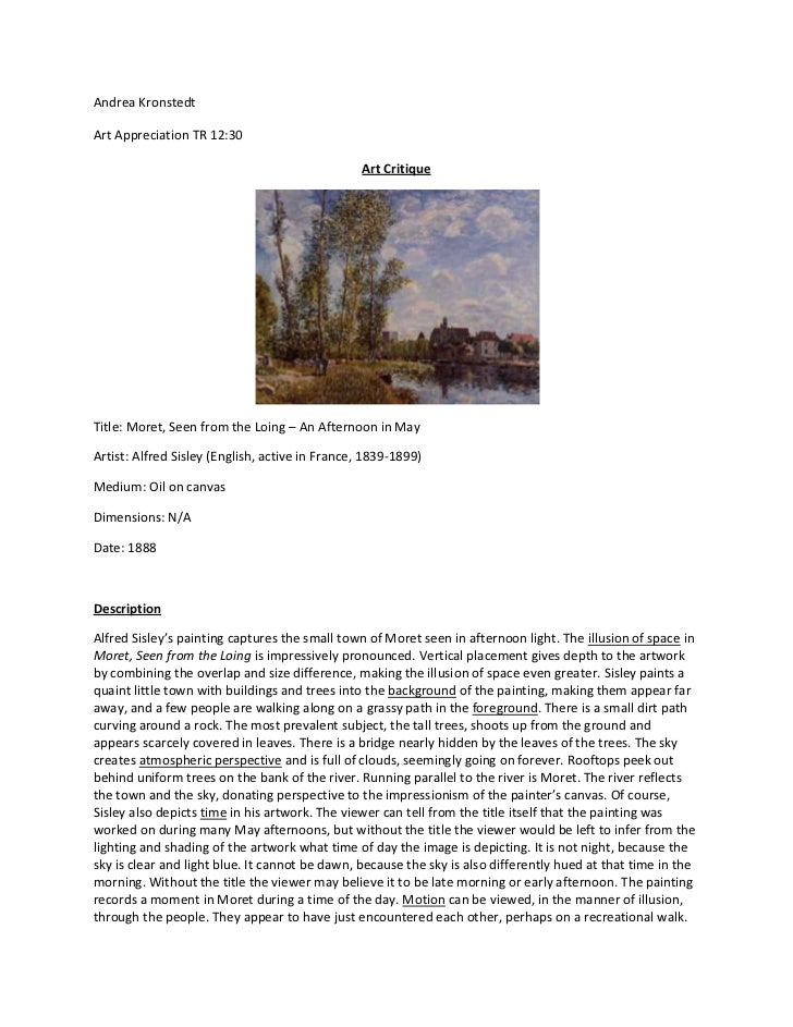 art critique example essay Using an appropriate article critique example to it interprets the works of art an author has to adhere to maximal objectivity in their essay and.