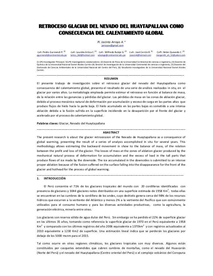 RETROCESO GLACIAR DEL NEVADO DEL HUAYTAPALLANA COMO         CONSECUENCIA DEL CALENTAMIENTO GLOBAL                         ...