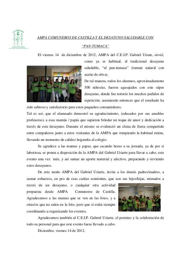 """AMPA COMUNEROS DE CASTILLA Y EL DESAYUNO SALUDABLE CON                                    """"PAN-TUMACA""""       El viernes 14..."""