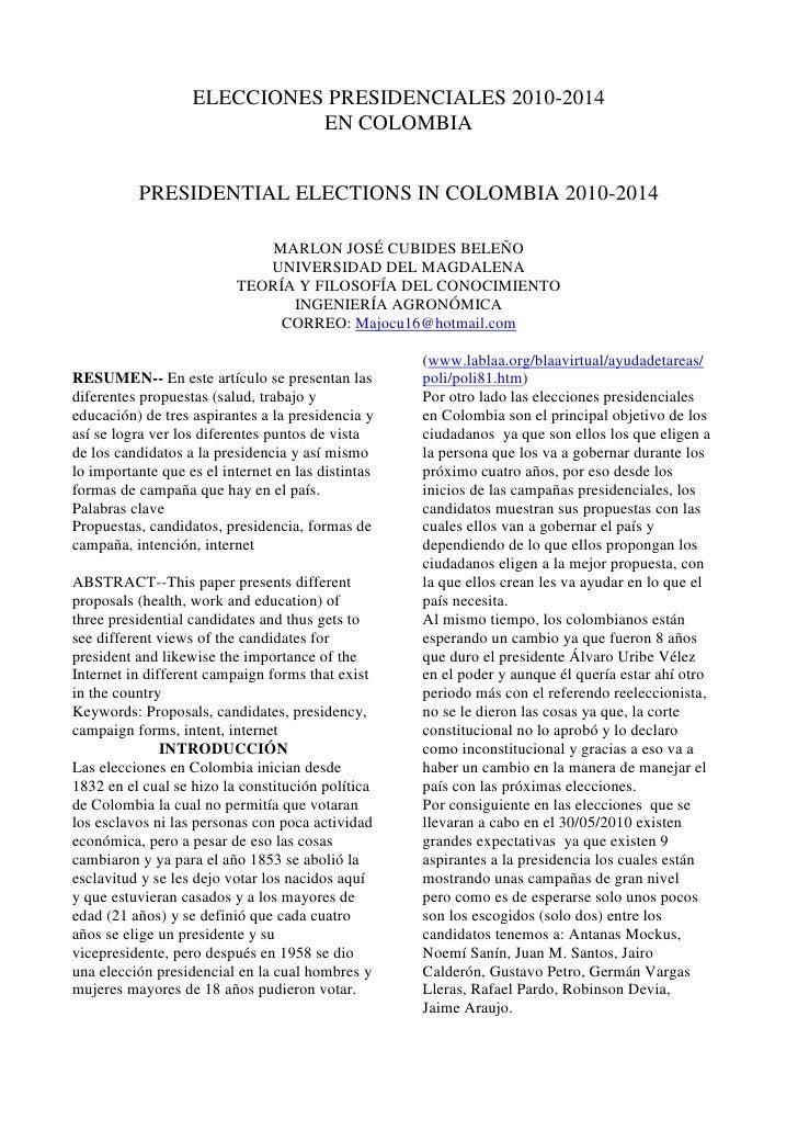 ELECCIONES PRESIDENCIALES 2010-2014<br />EN COLOMBIA<br />PRESIDENTIAL ELECTIONS IN COLOMBIA 2010-2014<br />(1 votes) <br ...