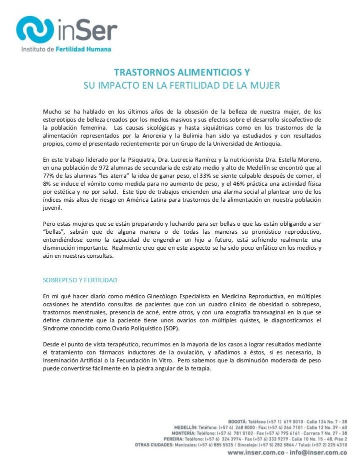 TRASTORNOS ALIMENTICIOS Y               SU IMPACTO EN LA FERTILIDAD DE LA MUJERMucho se ha hablado en los últimos años de ...