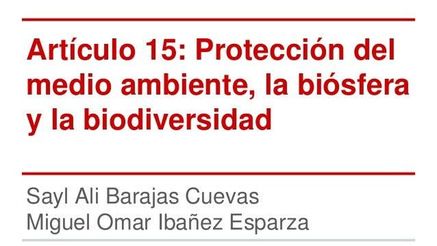 Artículo 15: Protección del medio ambiente, la biósfera y la biodiversidad Sayl Ali Barajas Cuevas Miguel Omar Ibañez Espa...