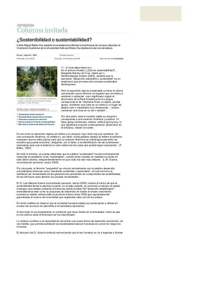 ¿Sostenibilidad o sustentabilidad? Carlos Miguel Barber Kuri advierte la necesidad de enfrentar la insuficiencia de recurs...