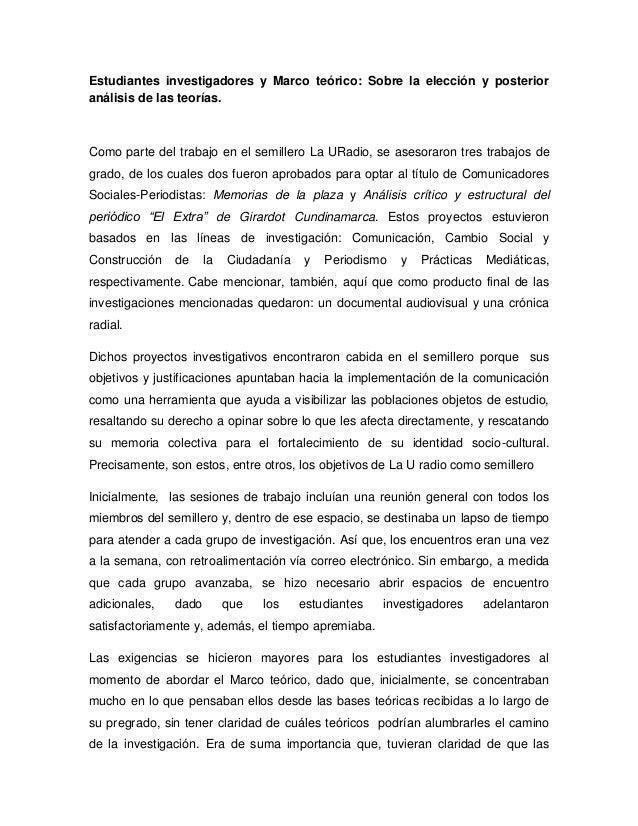 Artículo académico estudiantes investigadores y marco teórico sobre l…