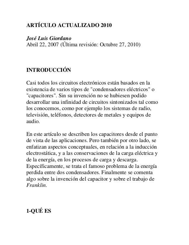 ARTÍCULO ACTUALIZADO 2010José Luis GiordanoAbril 22, 2007 (Última revisión: Octubre 27, 2010)INTRODUCCIÓNCasi todos los ci...
