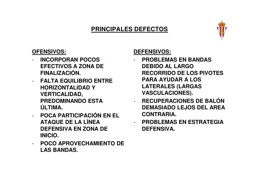PRINCIPALES DEFECTOSOFENSIVOS:                   DEFENSIVOS:- INCORPORAN POCOS           - PROBLEMAS EN BANDAS  EFECTIVOS ...