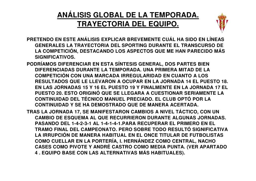 ANÁLISIS GLOBAL DE LA TEMPORADA.              TRAYECTORIA DEL EQUIPO.PRETENDO EN ESTE ANÁLISIS EXPLICAR BREVEMENTE CUÁL HA...