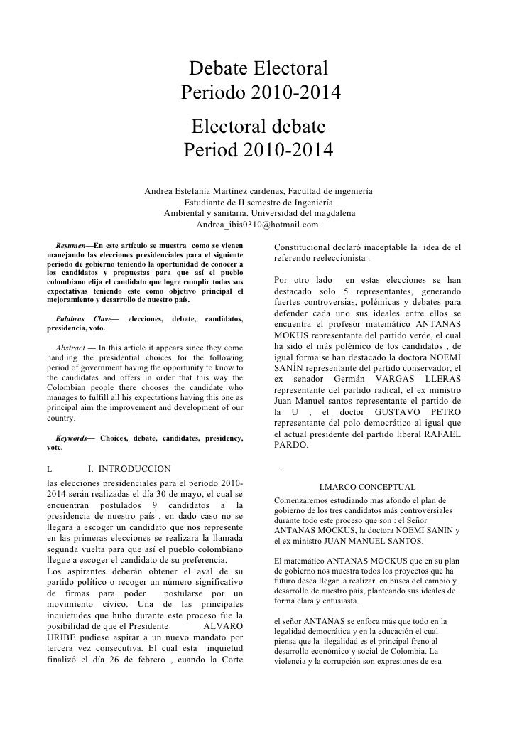 Debate Electoral                                         Periodo 2010-2014                                           Elect...