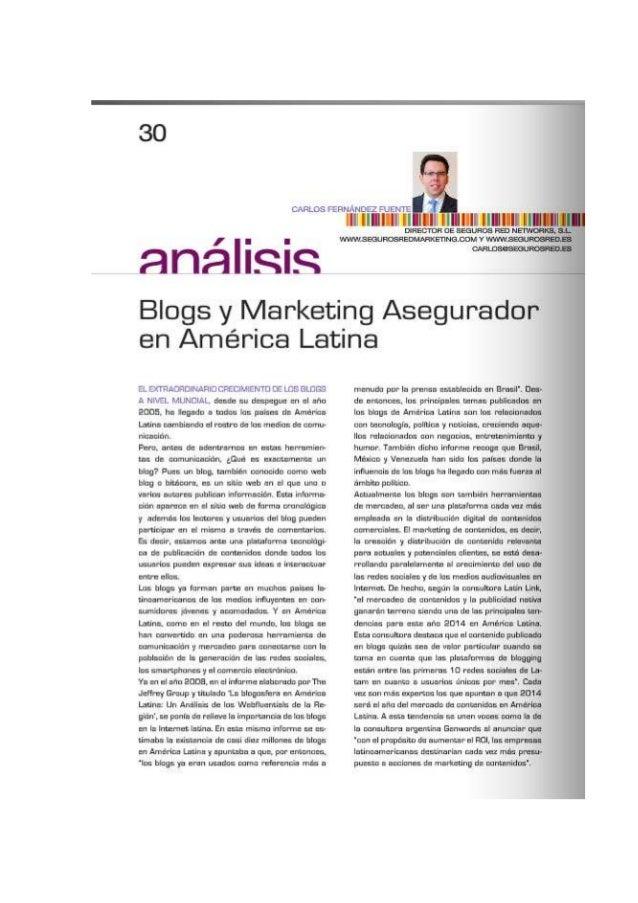 Artículo blogs y marketing de contenidos en Actualidad Aseguradora América Latina