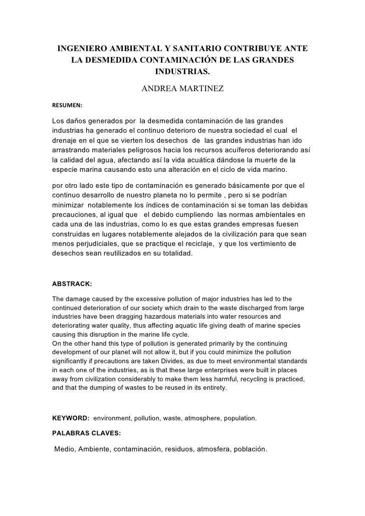 INGENIERO AMBIENTAL Y SANITARIO CONTRIBUYE ANTE     LA DESMEDIDA CONTAMINACIÓN DE LAS GRANDES                    INDUSTRIA...