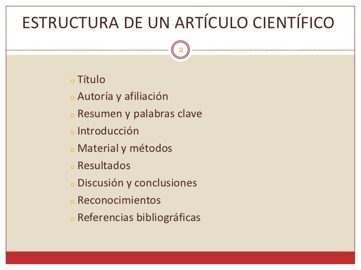Artículo científico: estructura y partes de un articulo científico Slide 2