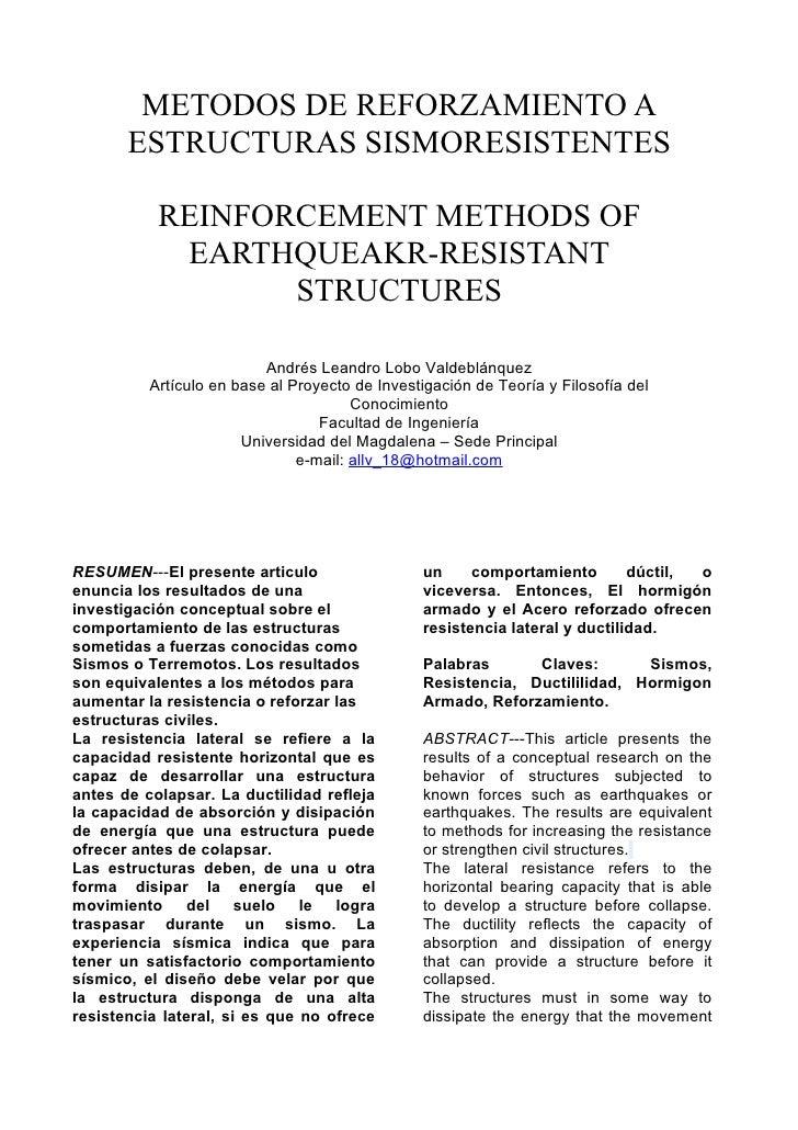 METODOS DE REFORZAMIENTO A        ESTRUCTURAS SISMORESISTENTES             REINFORCEMENT METHODS OF             EARTHQUEAK...