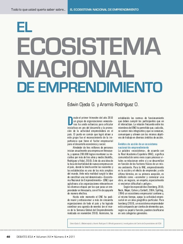 Todo lo que usted quería saber sobre...     El Ecosistema Nacional de Emprendimiento        El        Ecosistema        Na...