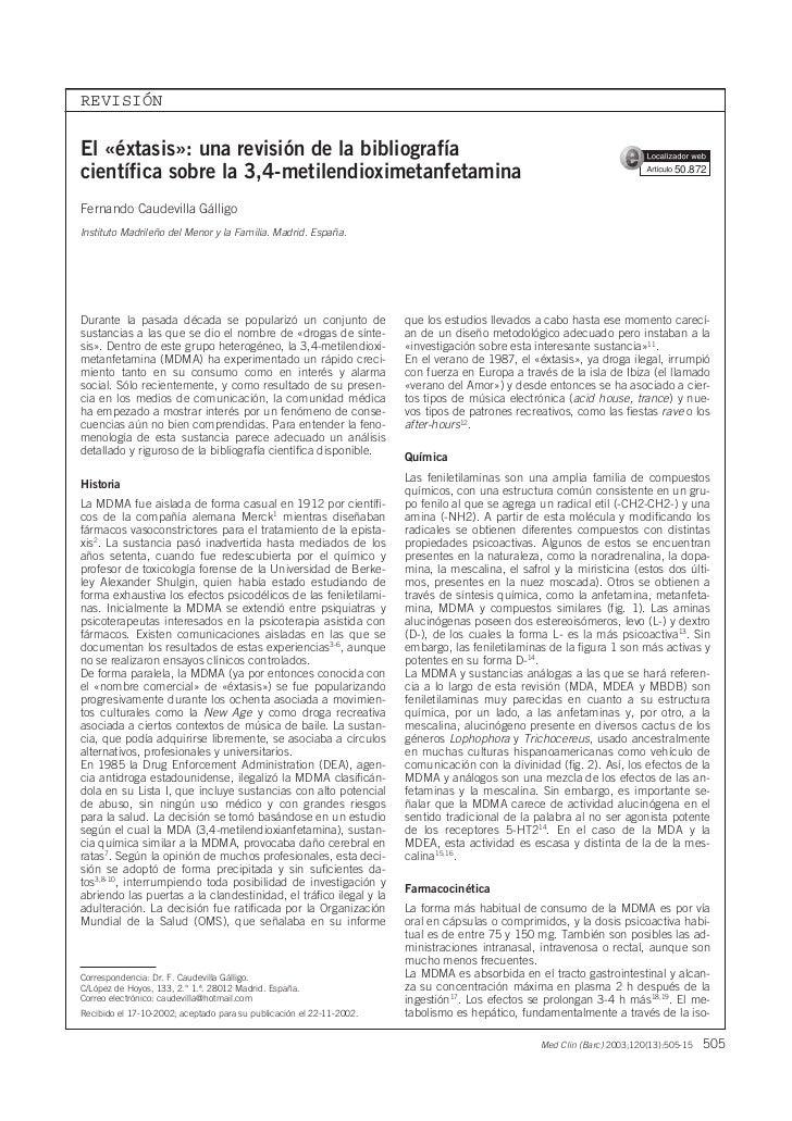 REVISIÓNEl «éxtasis»: una revisión de la bibliografíacientífica sobre la 3,4-metilendioximetanfetamina                    ...
