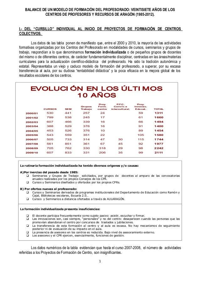 BALANCE DE UN MODELO DE FORMACIÓN DEL PROFESORADO: VEINTISIETE AÑOS DE LOS             CENTROS DE PROFESORES Y RECURSOS DE...