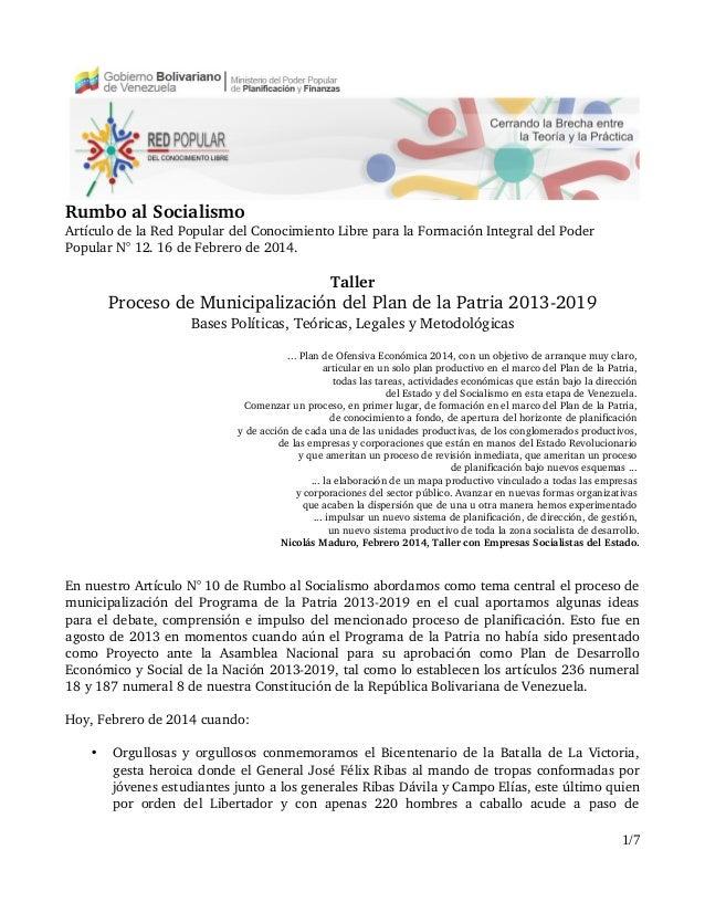 RumboalSocialismo ArtículodelaRedPopulardelConocimientoLibreparalaFormaciónIntegraldelPoder PopularN°12....