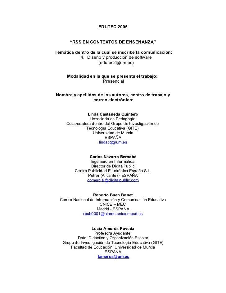 """EDUTEC 2005       """"RSS EN CONTEXTOS DE ENSEÑANZA""""Temática dentro de la cual se inscribe la comunicación:           4. Dise..."""