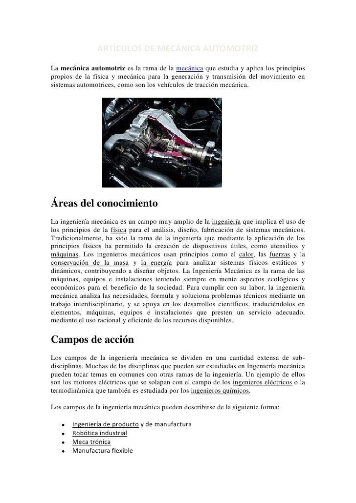 MECANICA AUTOMOTRIZ Y SUS AUTOS