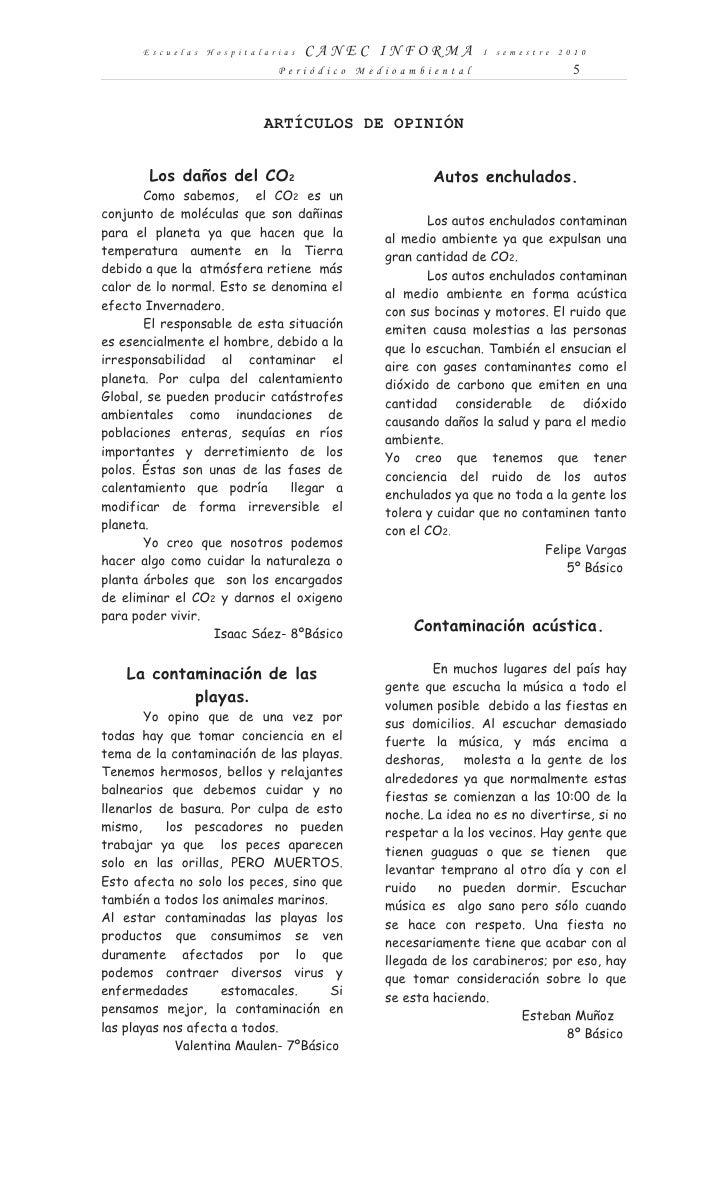 Escuelas Hospitalarias     CANEC INFORMA             I semestre 2010                              Periódico Medioambiental...