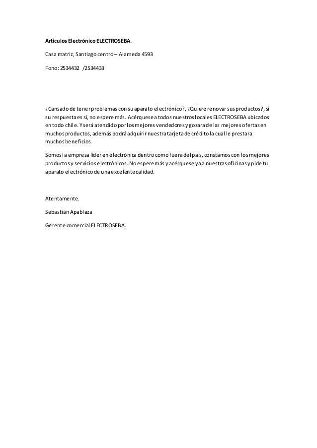 ArtículosElectrónico ELECTROSEBA. Casa matriz,Santiagocentro – Alameda4593 Fono:2534432 /2534433 ¿Cansadode tenerproblemas...
