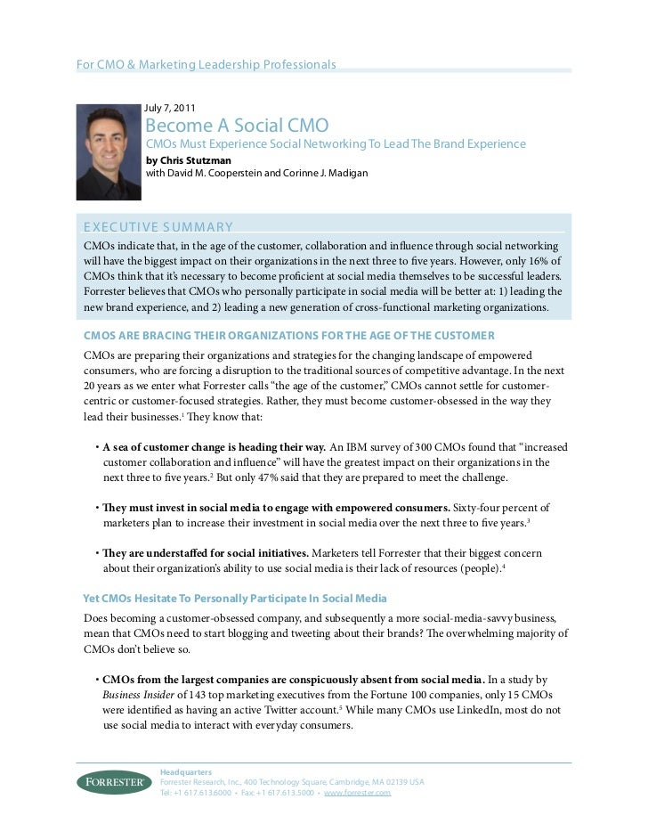 For CMO & Marketing Leadership Professionals              July 7, 2011              Become A Social CMO              CMOs ...
