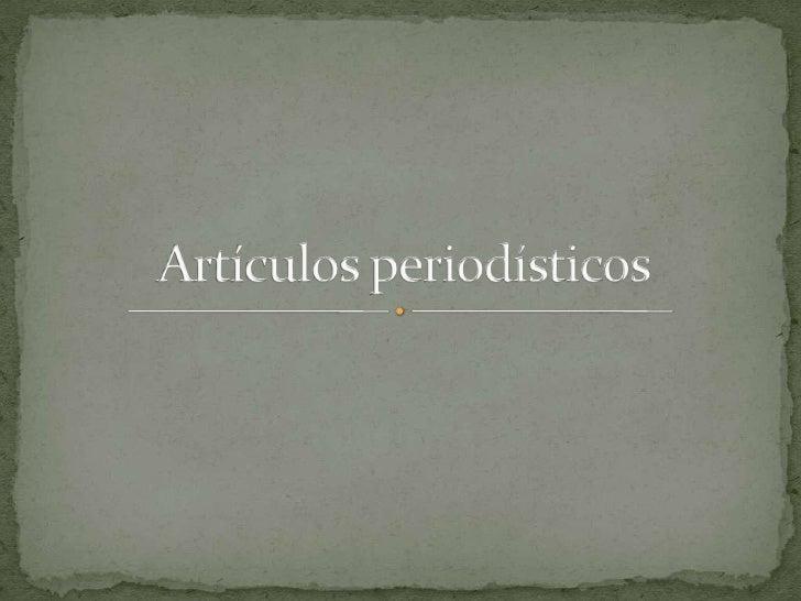 Artículos periodísticos