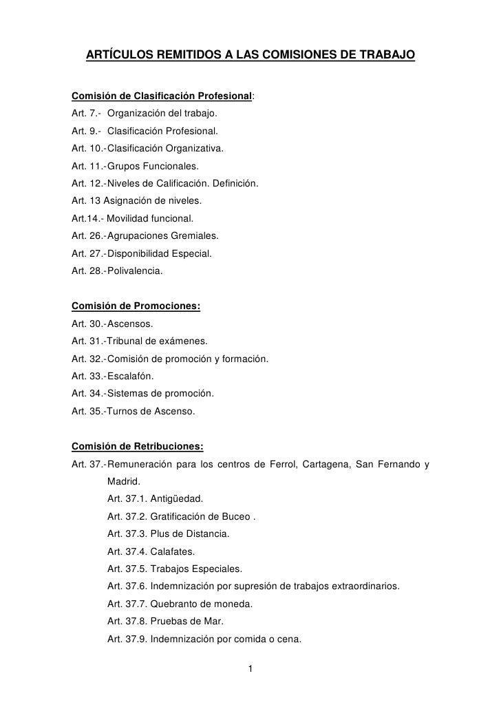 ARTÍCULOS REMITIDOS A LAS COMISIONES DE TRABAJOComisión de Clasificación Profesional:Art. 7.- Organización del trabajo.Art...