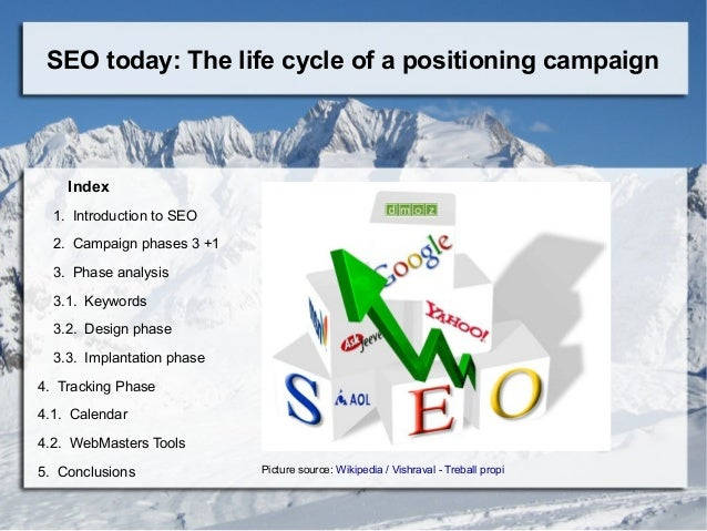 SEO today: The life cycle of a positioning campaign Index 1. Introduction to SEO 2. Campaign phases 3 +1 3. Phase analysis...